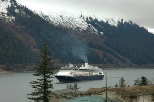 The first cruise ship of the summer season arrives in Juneau in early May.