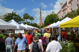 The Saturday morning Farmers Market on Charleston's  downtown Marion Square is a popular shopping and gathering place.