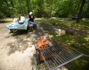Preparing lunch at Cumberland Knob on the Blue Ridge Parkway near Galax, Va.