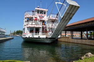 One of the St. Lawrence River tour boats that also provide ferry transportation to Boldt Castle out of Alexandria Bay, N. Y.