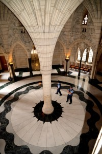 The rotunda inside the main entrance of Parliament Hill welcomes visitors Canada's seat of government.