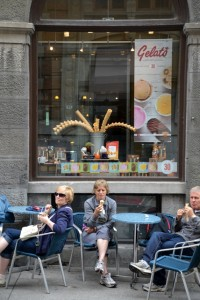 Visitors enjoying an ice cream break in Old Montreal.