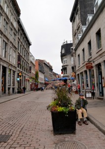 Taking a break on one of the centuries old streets in Old Montreal.