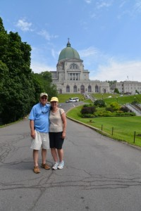 The Hughes's pose for a picture in front of St. Joseph's Oratory, Montreal, Canada.