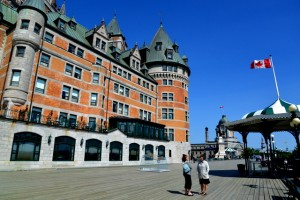 Taking a walk along the boardwalk in Quebec City near the Fairmont Hotel.