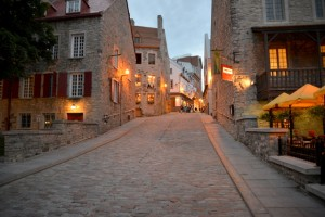 Historic cobblestone street in Old Quebec after closing time.