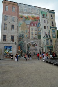 Look close because the images on the side of this building in Old Quebec is a mural that appears real.