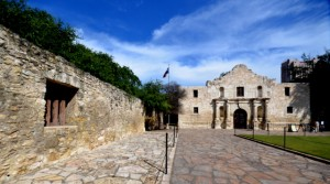The Alamo Mission and wall surrounding the grounds.