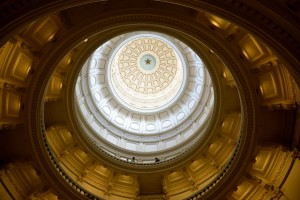 The Rotunda in the Texas State Capitol Building, Austin. The rotunda also features a large portrait of David Crockett, a painting depicting the surrender of General Santa Anna at the Battle of San Jacinto, and sculptures of Sam Houston--all Texas heroes.