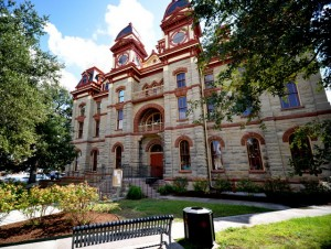 The Caldwell County Courthouse in historic downtown Lockhart, TX., home of at least 10 barbecue restaurants.