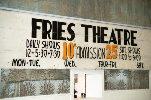 Fries' Thursday night Jam Session is held in the old Fries Theater. Sign on the wall advertises Wednesday evening shows from another era for 10 cent admission.