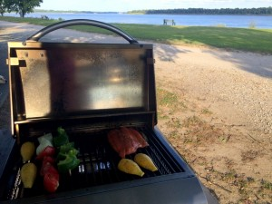 Cooking dinner outside the RV on the Mississippi River at West Memphis, Arkansas.