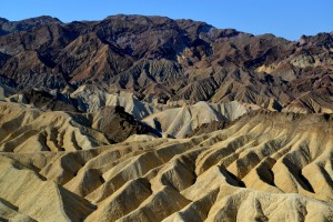 A spectacular view of Zabriskie Point, Death Valley National Park. It was a short uphill walk from the parking lot to reach this overlook.
