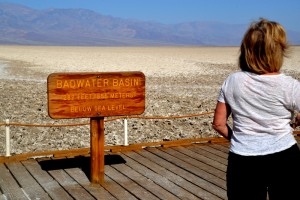 Badwater Basin comes by its name naturally. The water is contaminated with salt and is undrinkable.