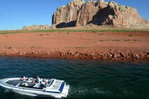 Unusually large rock formations add to the scenery on Lake Powell.