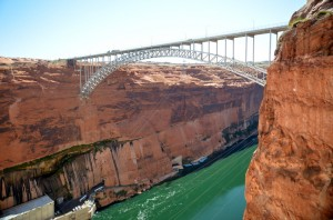 The bridge across the Columbia River below the Glen Canyon Dam.