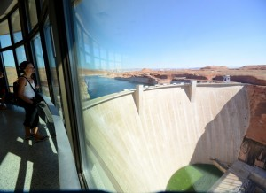 An enclosed overlook at the Glen Canyon Dam Visitors Center.