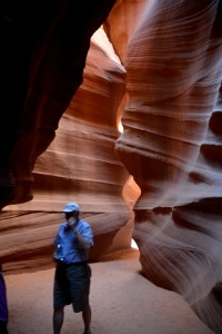 The narrow passage way through Antelope Slot Canyon was claustrophobic for some tourists. The path was less than three feet wide in some areas.