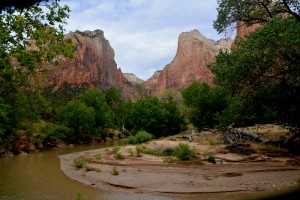The Virgin River flows through Zion National Park.