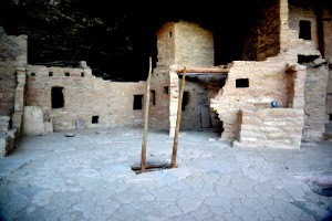 Entrance to one of the Kivas is through a small opening and down a ladder.