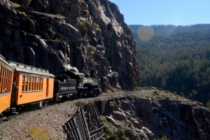 The Durango to Silverton train ride goes through a high mountain pass in the San Juan Mountains.