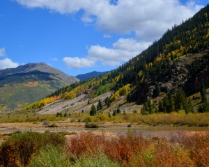 Fall leaves were appearing in the San Juan Mountains when we took the Durango-to Silverton train ride.
