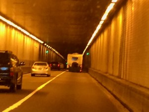 Inside one of the I-77 tunnels soon after entering West Virginia.