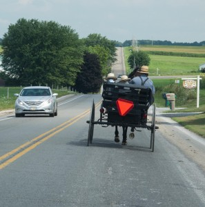 Sharing the road with horse drawn Amish buggies on a highway near Mount Hope, Ohio.