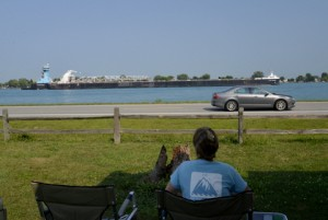 Front row seats to watch huge freighters passing make Algonac State Park a popular camping destination near Marine City, Michigan. The park has a half mile of viewing along the St. Clair River.