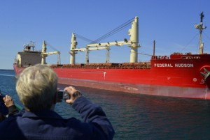 Getting a close up view of the Great Lakes freighter Federal Hudson as it approaches the Soo Locks at Sault St. Marie, Michigan.