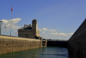 Passing through the locks on the Canadian side.