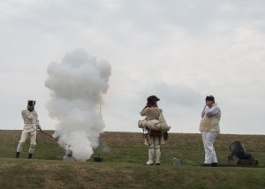 A canon firing demonstration by volunteer soldiers.