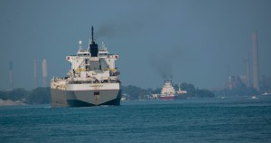 Two large tankers, both in the 1,000 feet range, head north on the St. Clair River heading into big Lake Huron