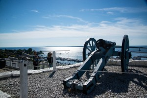 From the top of Fort Macinac, cannons protected the island and the waterway on Lake Huran.