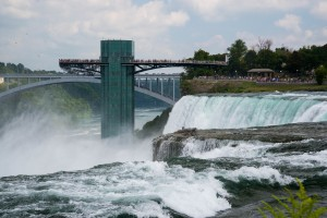 Falls from the U. S. side with an observation deck near the Rainbow Bridge leading to Canada.