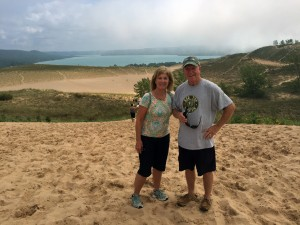 Joining hundreds of other visitors, we made it to the top of Sleeping Bear Dunes National Seashore.