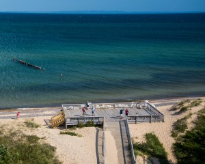 An observation desk at Whitefish Point as seen from the top of the lighthouse.