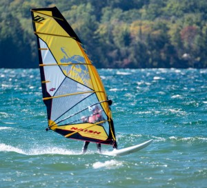 Wind sailing on a blustery day on Lake Superior near Munising, Michigan.