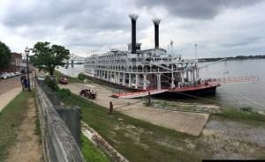 The American Queen steamboat was anchored at Natchez, offering guests an opportunity visit the city before continuing on to Memphis, TN.