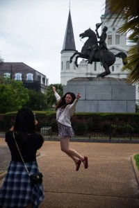 Taking a leap in front of Andrew Jackson equestrian statute in historic Jackson Square.