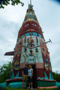 The world's largest concrete totem pole is located near Foyil, OK just off historic U. S. Highway 66. Built in 1948, the totem pole is 90 feet high and 30 feet wide.