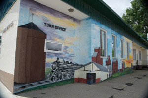 A mural on the city offices building in Wolseley, SK where we stopped for lunch.