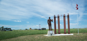 A group of French Canadian Indians, led by Luis Riel, rallied against the Canadian government in the late 1800's over land ownership. Riel was captured and tried and hung for his part in the rebellion. This monument to Riel is located on the highway between Craven and Battleford, SK.