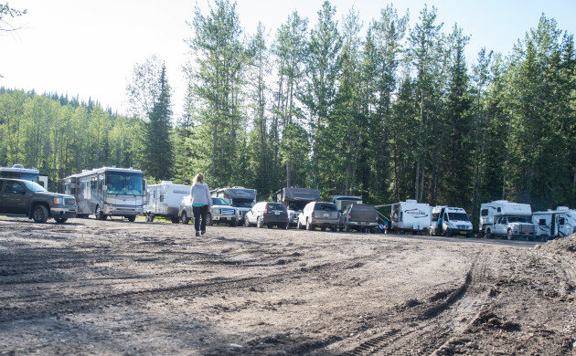Our first gravel pit campground along the Alaska Highway