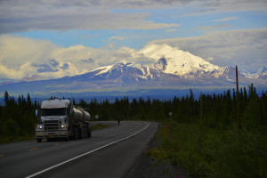 Mount Drum is not the largest mountain seen from Glennallen, but it is the most impressive when seen from the highway west of town. The mountain is part of the Wrangell-St. Elias range and stands 12,010 feet tall.