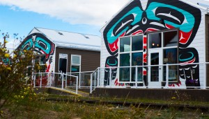 Buildings in Carcross duplicated colorful native art work on these new structures, housing a sandwich and ice cream shops.