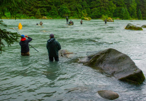 Anglers working the waters near Haines, AK for sockeye salmon.