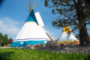 Authentic teepees outside the entrance to the Cody Museum in Cody, Wyoming.