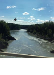 The Nass River on Highway 27 en route to Smither, B. C. Photo taken from a one lane wooden bridge.
